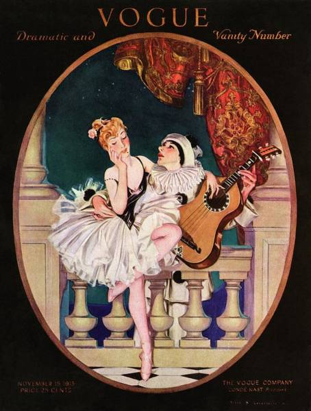 Wall Art - Photograph - A Vogue Cover Of A Ballerina And A Clown by Frank X. Leyendecker