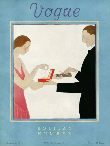 1923 Photograph - A Vogue Cover Of A Couple Exchanging Gifts by Andre E.  Marty
