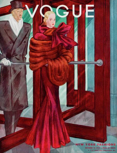 Formal Wear Photograph - A Vogue Cover Of A Couple In A Revolving Door by Georges Lepape