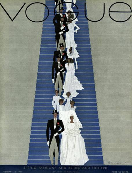 Wedding Photograph - A Vogue Cover Of A Wedding Party by Pierre Mourgue