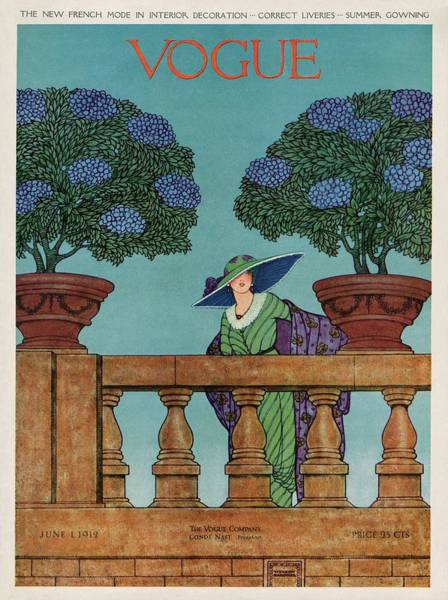 Blue Photograph - A Vogue Cover Of A Woman At A Balustrade by Wilson Karcher