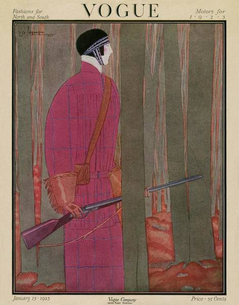 1923 Photograph - A Vogue Cover Of A Woman Hunting by Georges Lepape
