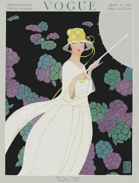 1917 Photograph - A Vogue Cover Of A Woman In A White Dress by Alice de Warenne Little