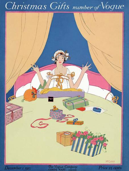 Blue Flower Photograph - A Vogue Cover Of A Woman In Bed With Gifts by Robert McQuinn