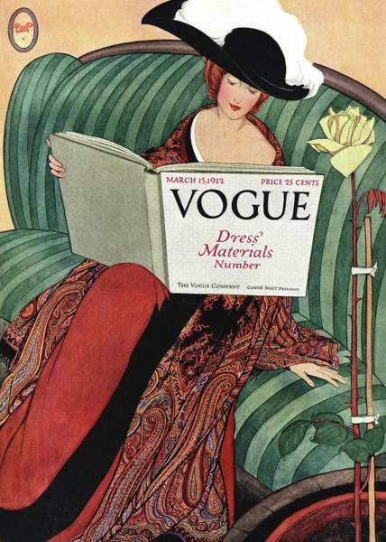 Sofa Photograph - A Vogue Cover Of A Woman Reading A Vogue Book by George Wolfe Plank