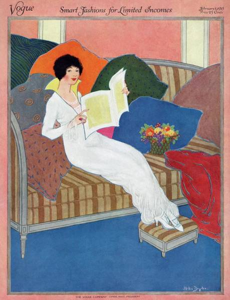 Reading Photograph - A Vogue Cover Of A Woman Reading by Helen Dryden