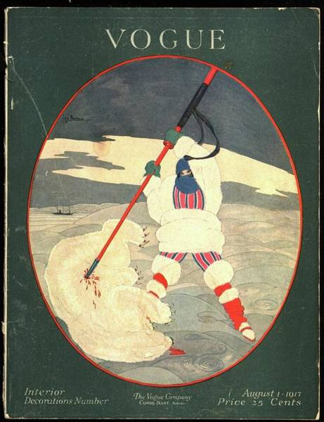 1917 Photograph - A Vogue Cover Of A Woman Spearing A Polar Bear by Georges Lepape