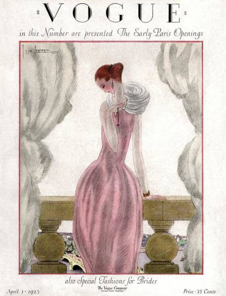 Evening Photograph - A Vogue Cover Of A Woman Wearing A Pink Dress by Georges Lepape