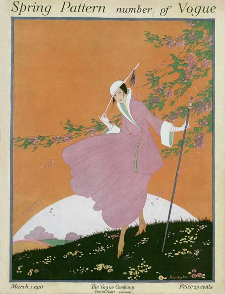 A Vogue Cover Of A Woman Wearing A Pink Suit Art Print