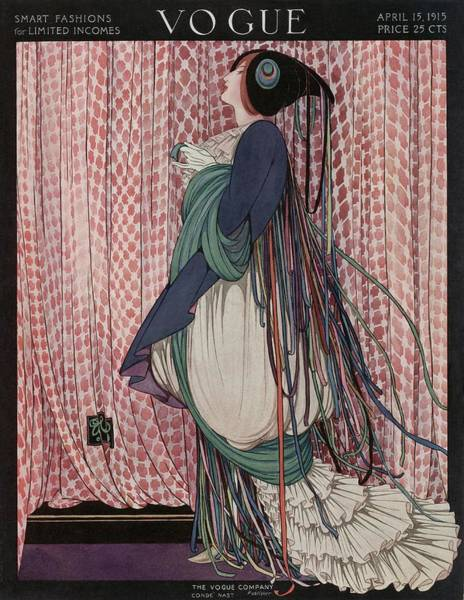 Curtain Photograph - A Vogue Cover Of A Woman Wearing A Ribboned Dress by George Wolfe Plank