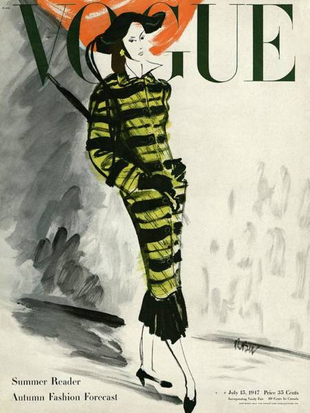 Stripe Photograph - A Vogue Cover Of A Woman Wearing A Striped Coat by Rene Bouet-Willaumez