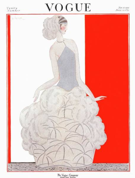 Evening Photograph - A Vogue Cover Of A Woman Wearing An Evening Gown by Georges Lepape