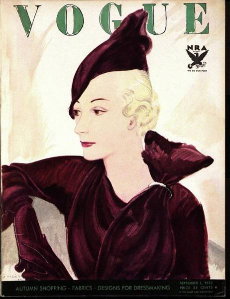 Photograph - A Vogue Cover Of A Woman Wearing Purple by Jean Pages