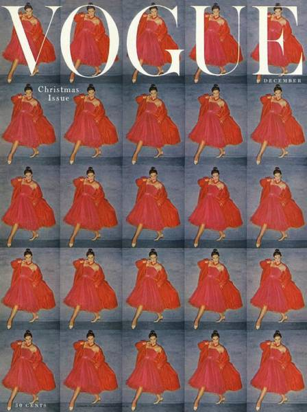 Retro Photograph - A Vogue Cover Of A Woman Wearing Red by Clifford Coffin