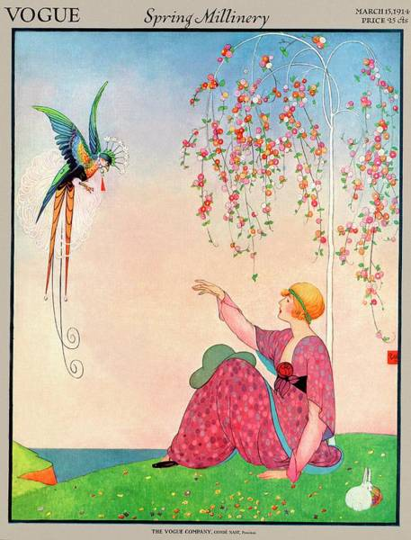 Flower Photograph - A Vogue Cover Of A Woman With A Bird by George Wolfe Plank