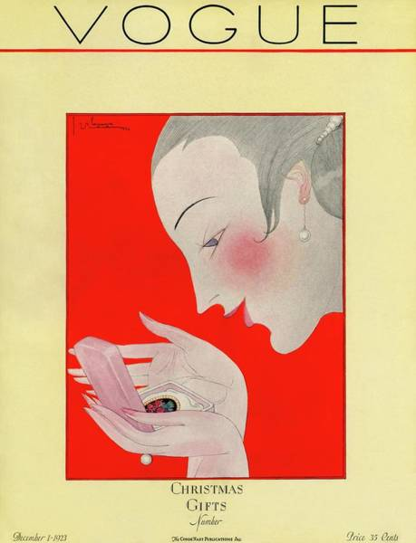 1923 Photograph - A Vogue Cover Of A Woman With A Brooch by Georges Lepape