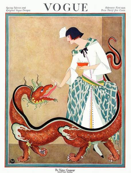 February 1st Photograph - A Vogue Cover Of A Woman With A Chinese Dragon by George Wolfe Plank