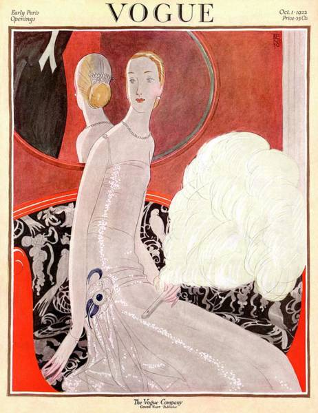 1922 Photograph - A Vogue Cover Of A Woman With A Fan by Eduardo Garcia Benito