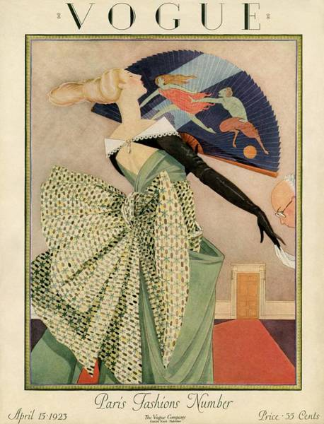 1923 Photograph - A Vogue Cover Of A Woman With A Fan by George Wolfe Plank