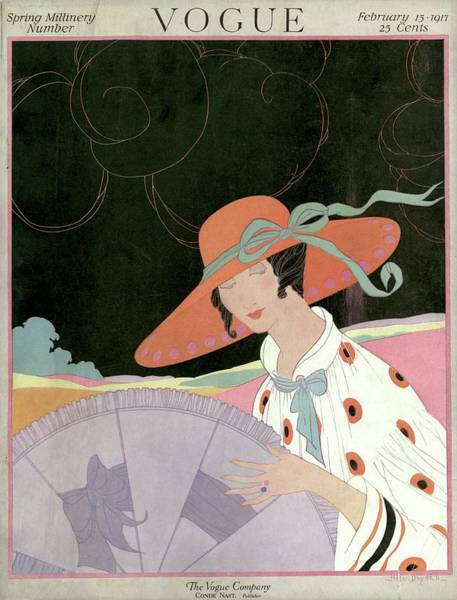 Orange Photograph - A Vogue Cover Of A Woman With A Parasol by Helen Dryden