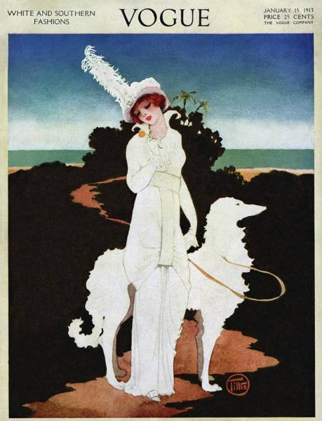 Footpath Photograph - A Vogue Cover Of A Woman With A Wolfhound by Mrs. Newell Tilton