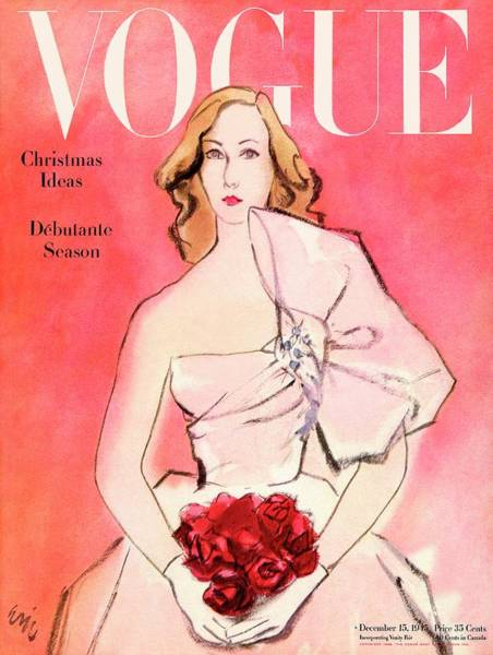 Retro Photograph - A Vogue Cover Of A Woman With Roses by Carl Oscar August Erickson