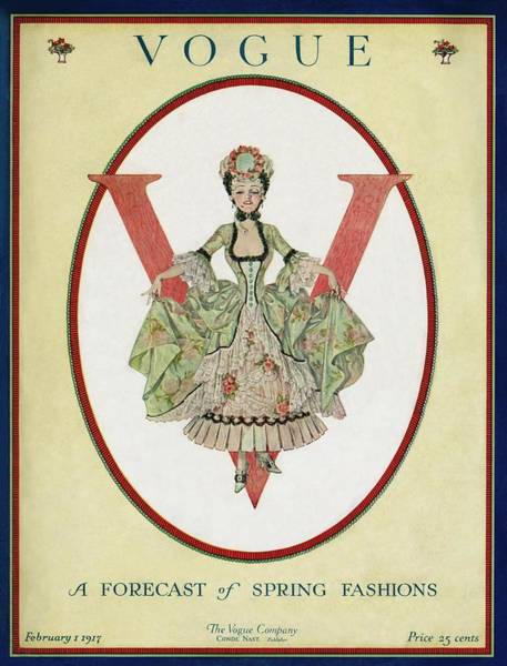 1917 Photograph - A Vogue Cover Of An 18th Century Shepherdess by Frank X. Leyendecker