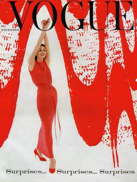Retro Photograph - A Vogue Cover Of Anne St. Marie And Red Paint by William Bell