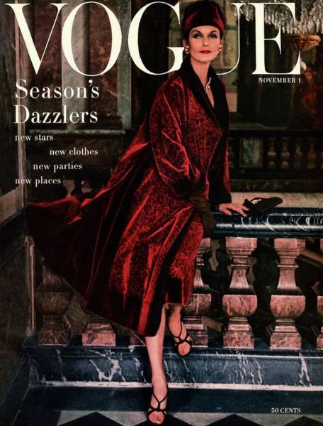 Red Coat Photograph - A Vogue Cover Of Anne St. Marie Wearing A Dior by Henry Clarke
