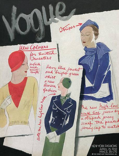 Photograph - A Vogue Cover Of Fashion Sketches by William Bolin