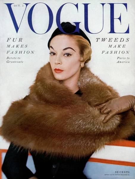 Retro Photograph - A Vogue Cover Of Jean Patchett Wearing A Fur Wrap by Horst P. Horst