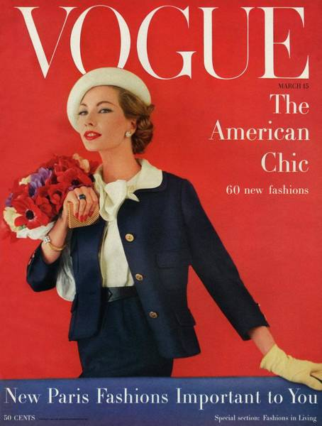 Retro Photograph - A Vogue Cover Of Jessica Ford With Flowers by Karen Radkai