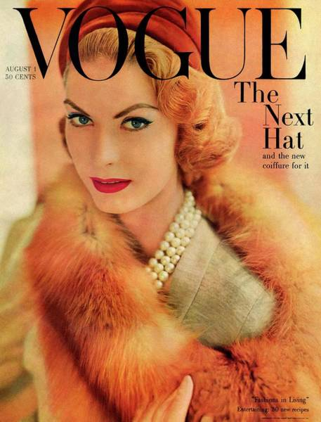 Photograph - A Vogue Cover Of Mary Mclaughlin Wearing A Fox by Horst P. Horst