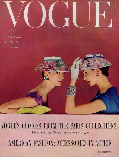 Two People Photograph - A Vogue Cover Of Models Wearing Lilly Dache Hats by Richard Rutledge