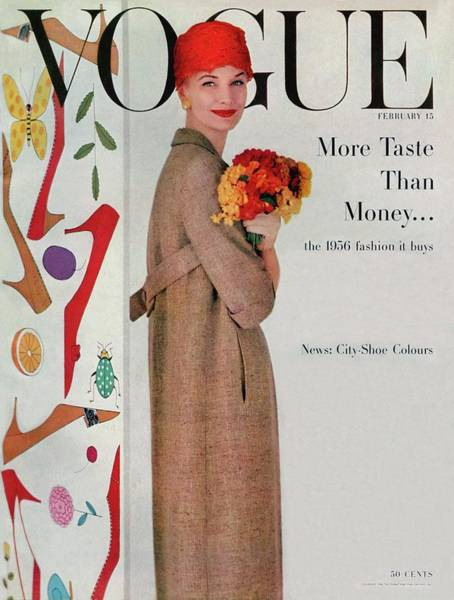 Retro Photograph - A Vogue Cover Of Sunny Harnett With Flowers by Karen Radkai