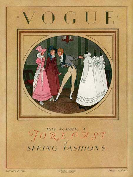Photograph - A Vogue Cover Of Women Shopping by Pierre Brissaud