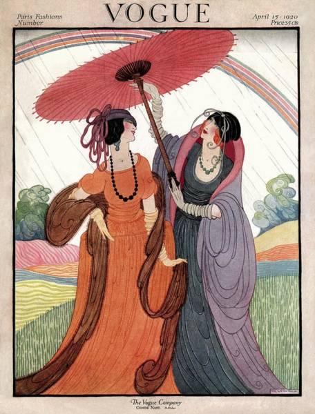 Umbrella Photograph - A Vogue Cover Of Women Under An Umbrella by Helen Dryden