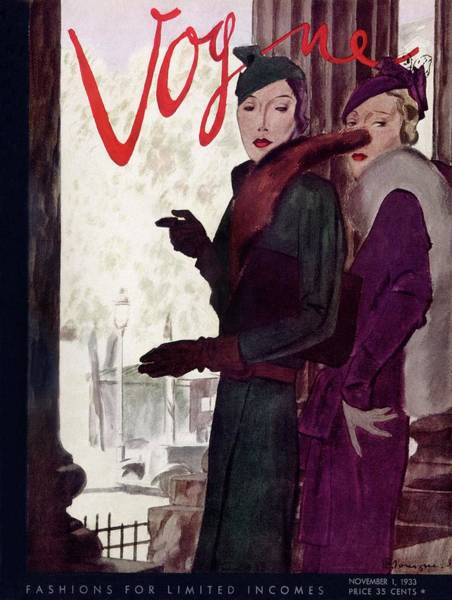 Architecture Photograph - A Vogue Cover Of Women Wearing Coats by Pierre Mourgue