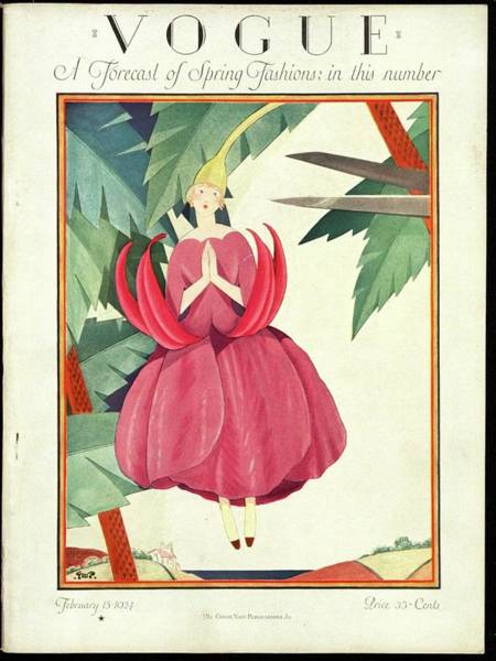 Red Flower Photograph - A Vogue Magazine Cover From 1924 by George Wolfe Plank