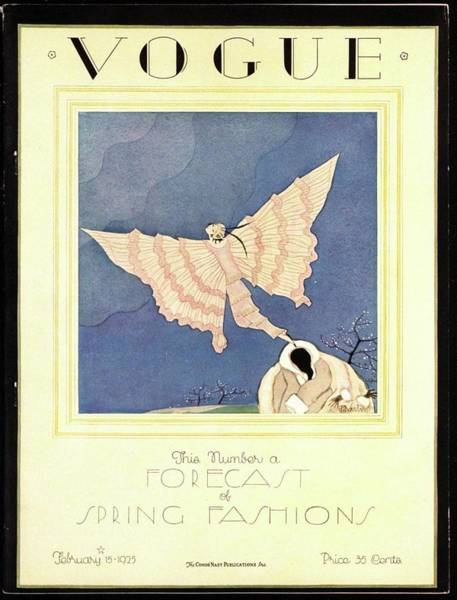 Fur Coat Photograph - A Vogue Magazine Cover From 1925 by Charles Martin