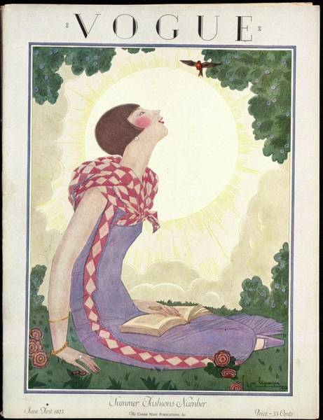 Reading Photograph - A Vogue Magazine Cover From 1925 by Georges Lepape