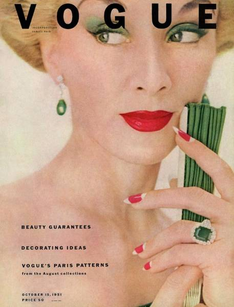 1951 Photograph - A Vogue Magazine Cover Of Lisa Fonssagrives by Clifford Coffin