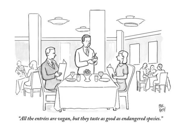 Restaurant Drawing - A Waiter Addresses A Couple Who Are Seated by Paul Noth