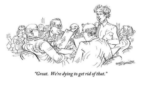 Dine Drawing - A Waiter Addresses Three Men Ordering by William Hamilton