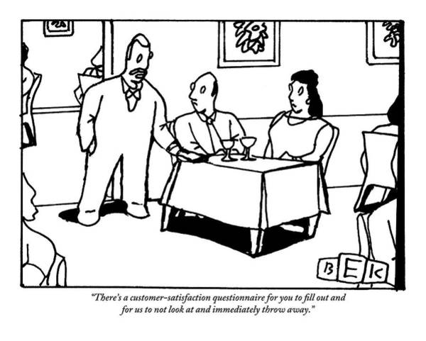 Waiter Drawing - A Waiter Speaks To A Couple At A Restaurant Table by Bruce Eric Kaplan