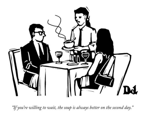 Better Drawing - A Waitress Speaks To Customers At A Restaurant by Drew Dernavich