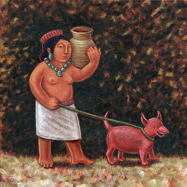 Leash Painting - A Walk In Old Colima by Holly Wood