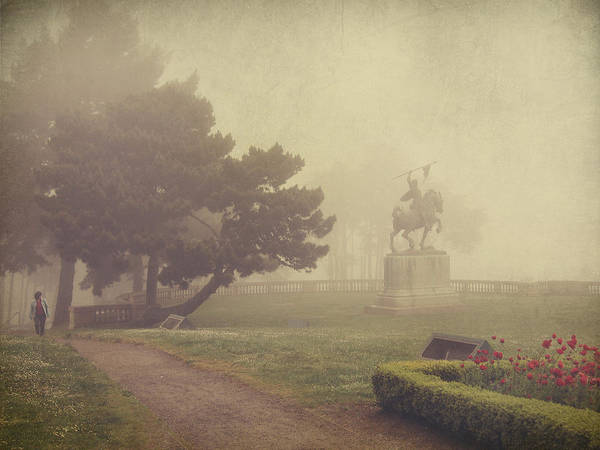 Gardens Photograph - A Walk In The Fog by Laurie Search