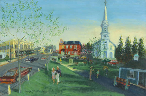 Courthouse Painting - A Walk In The Park by Margaret Buchte