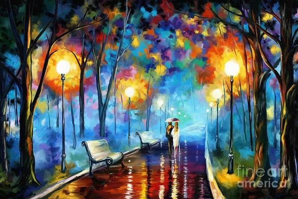 Walking In The Rain Wall Art - Painting - A Walk In The Park by Tim Gilliland